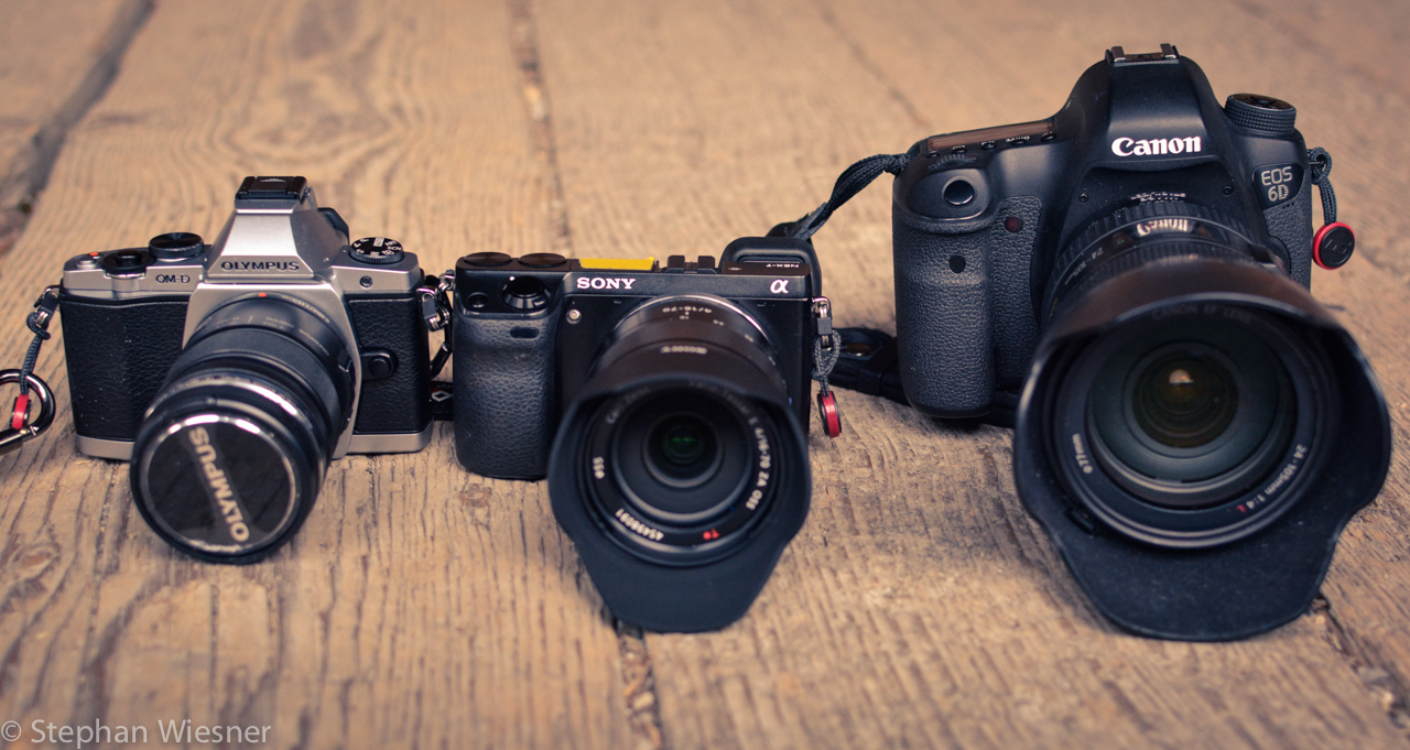 Grössenvergleich: Olympus OMD E-M5, Sony NEX-7 und Canon 6D