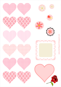free pink heart stickers: