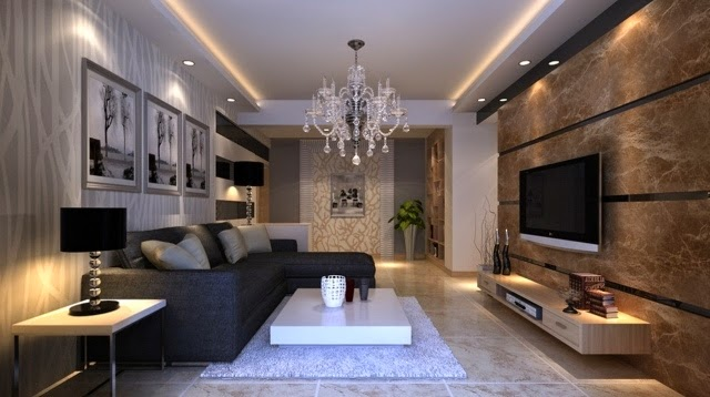 Stunning false ceiling led lights and wall lighting for for Living room lighting ideas