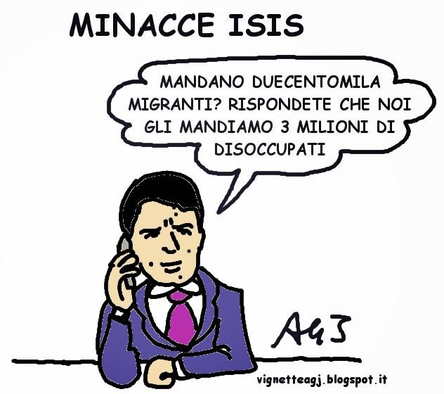Renzi, Isis, migranti, disoccupazione, vignetta , satira