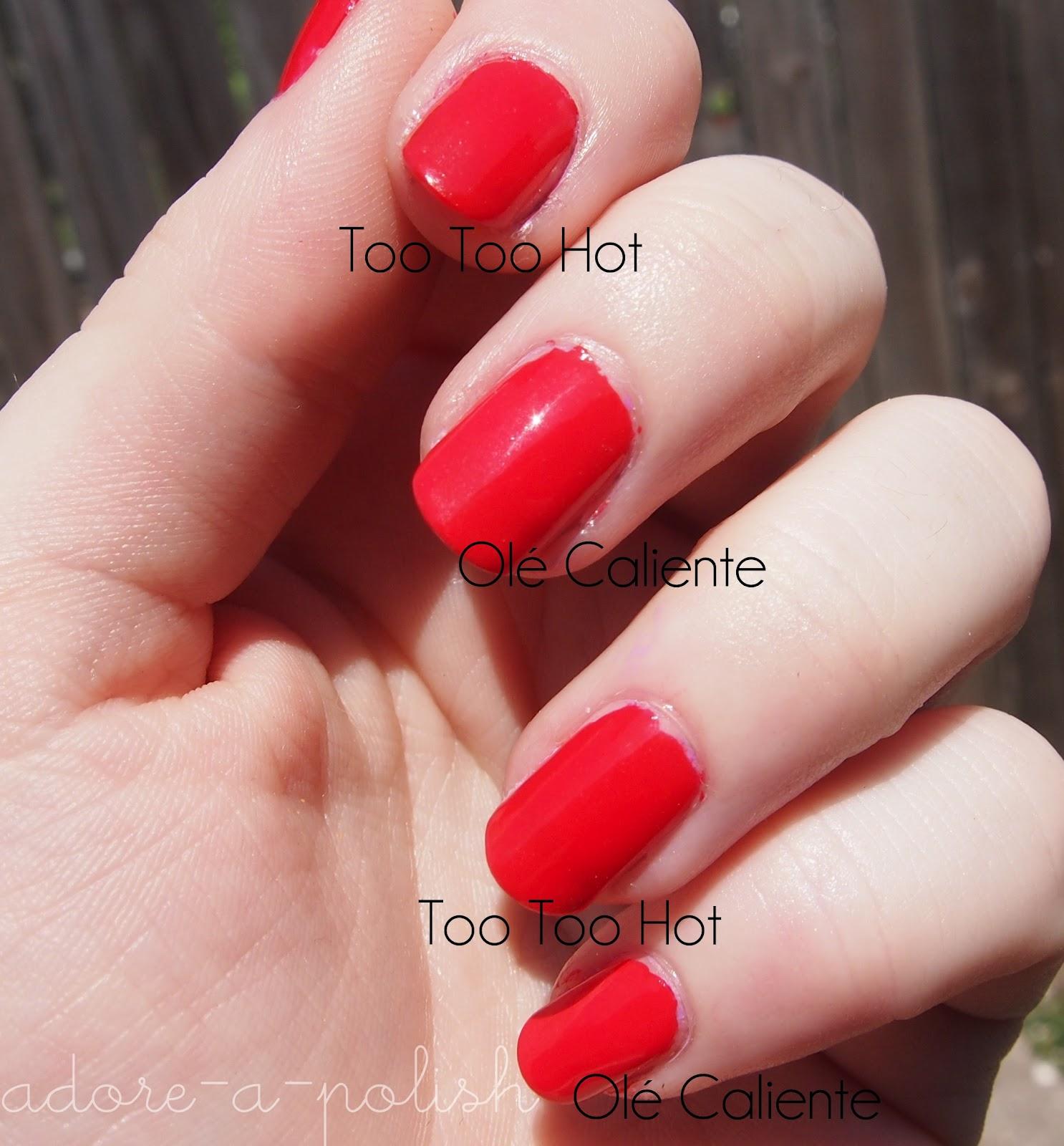 Comparison: Essie Too Too Hot and Olé Caliente - Adore A Polish: A ...