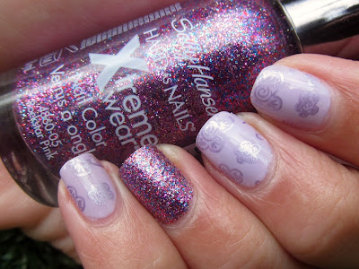 Barry M - Lilac Foil Sally Hansen - Rock Star Pink Essie - Nice is Nice