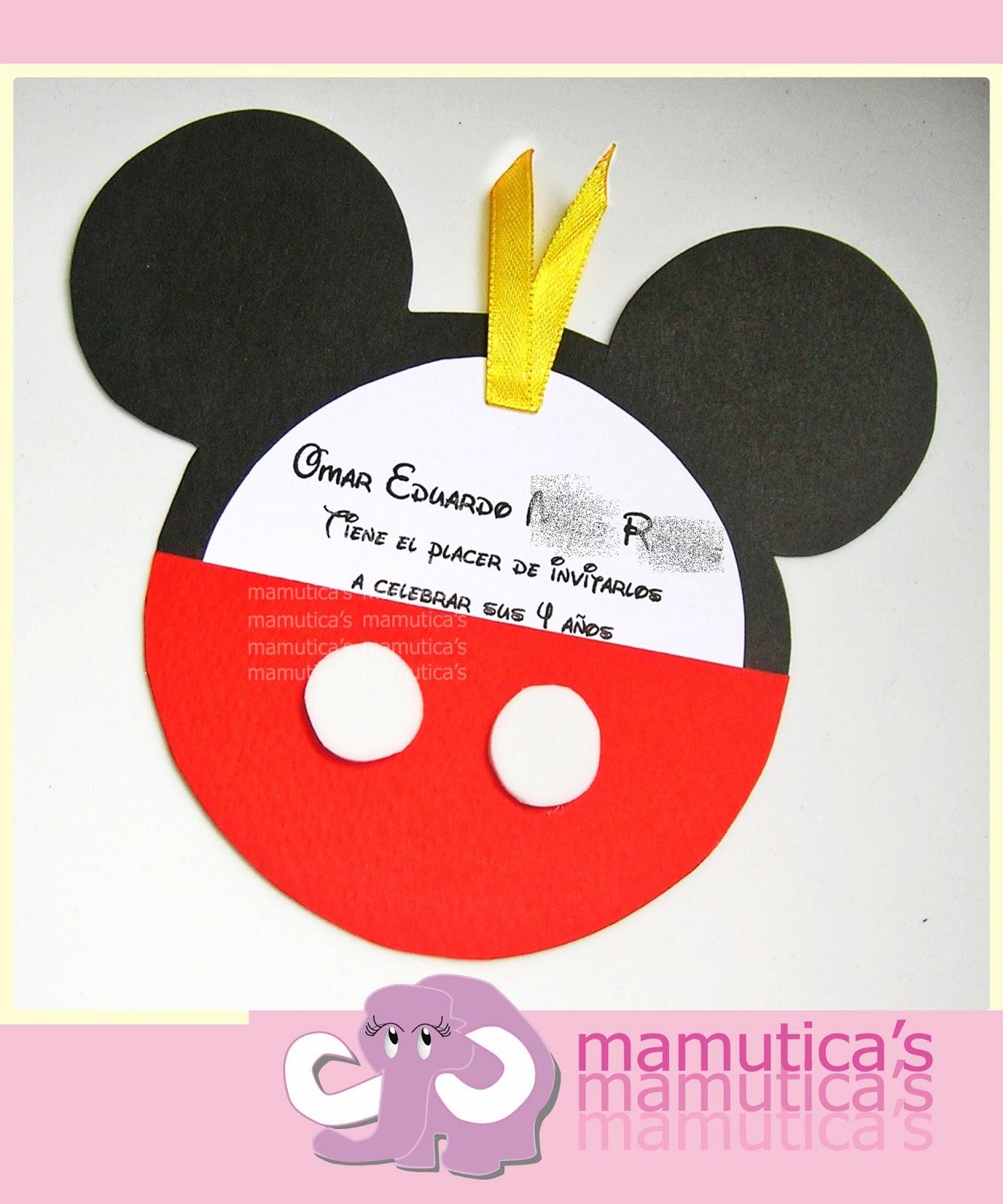 Mamutica's: Tarjetas de invitación cumpleaños Mickey Mouse