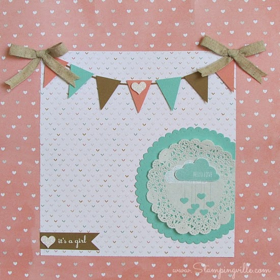 Baby shower keepsake gift bag becomes a scrapbook page or frame-able art | Stampingville #papercrafts #scrapbooking #babyshower #StampinUp