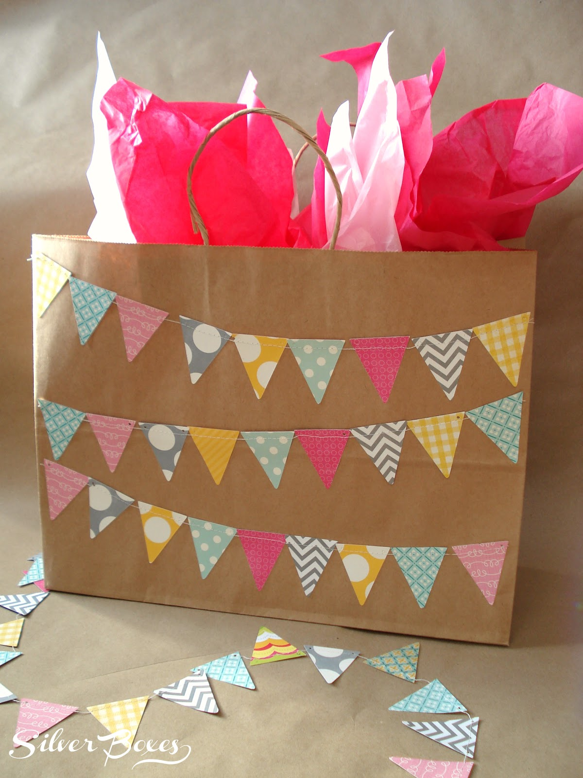 Silver boxes diy pennant gift bag for Bag decoration ideas