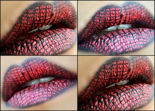 Snake Patterned Maroon Lip Art Makeup