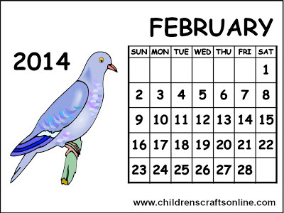 Children: Free printable February 2014 Calendar for children to print