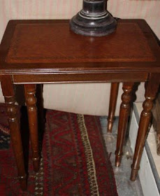 Nest of Three Tables with faux leather inlay
