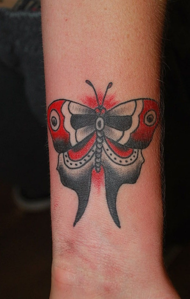 Traditional Sailor Jerry Butterfly Wrist Tattoo by David Meek Tattoos