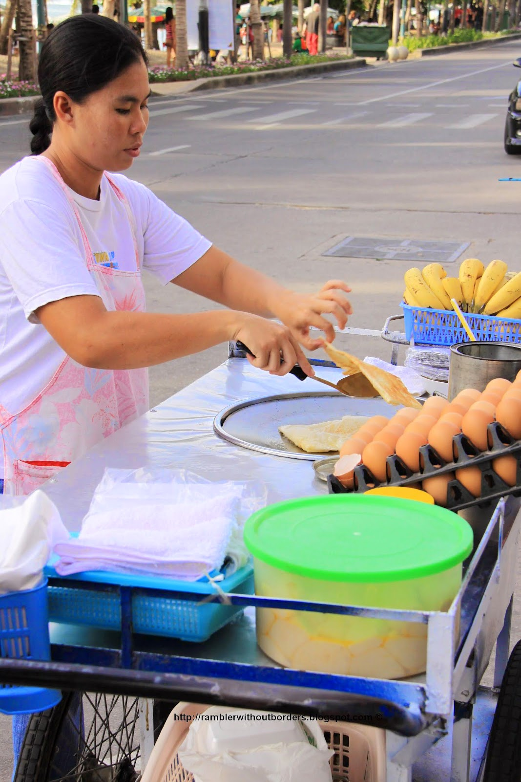 Thai street vendor selling crepes, Pattaya, Thailand