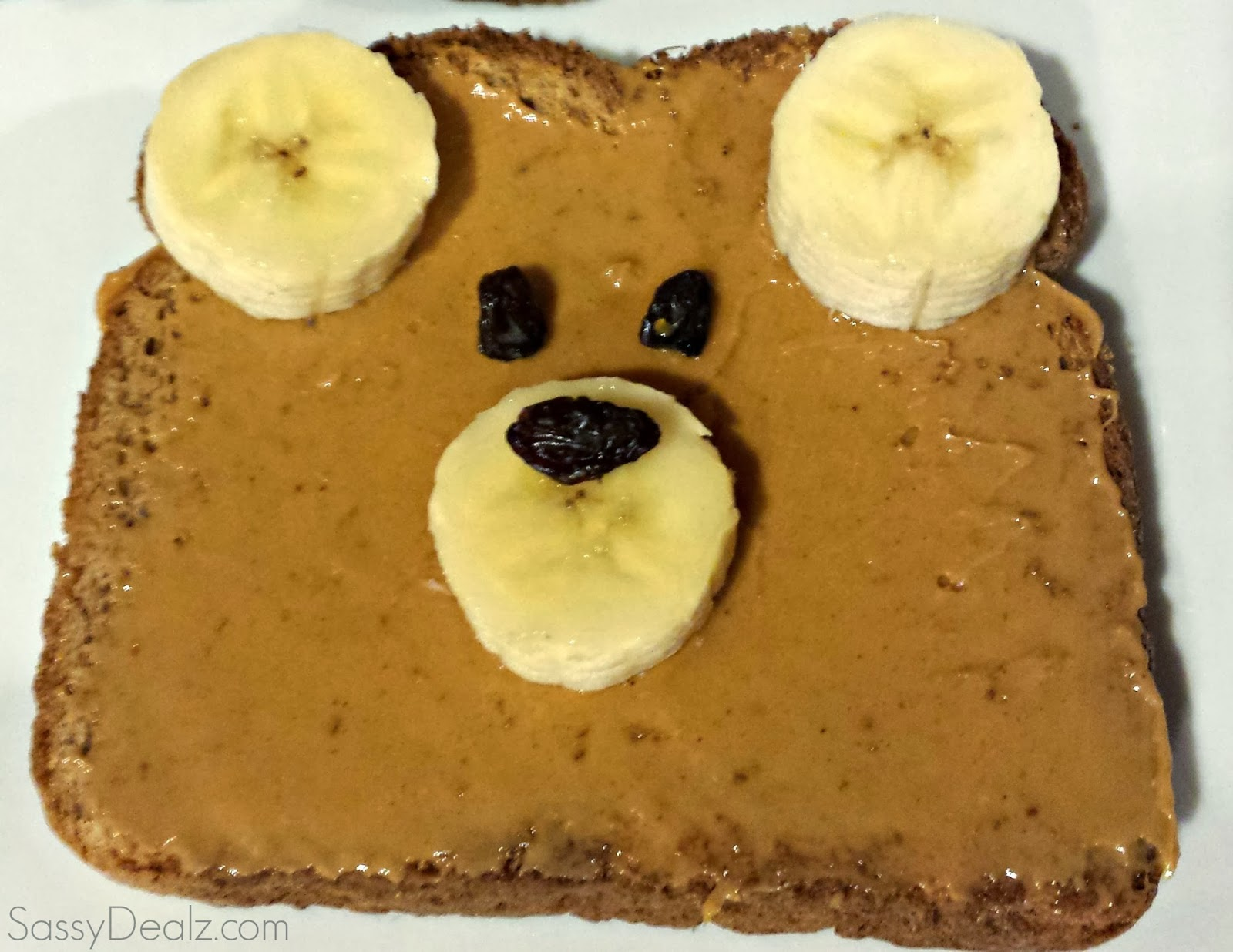 banana teddy bear toast breakfast