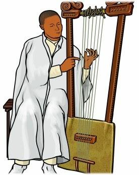 楽器演奏のイラスト。エチオピアのベゲナ(ベガンナ)