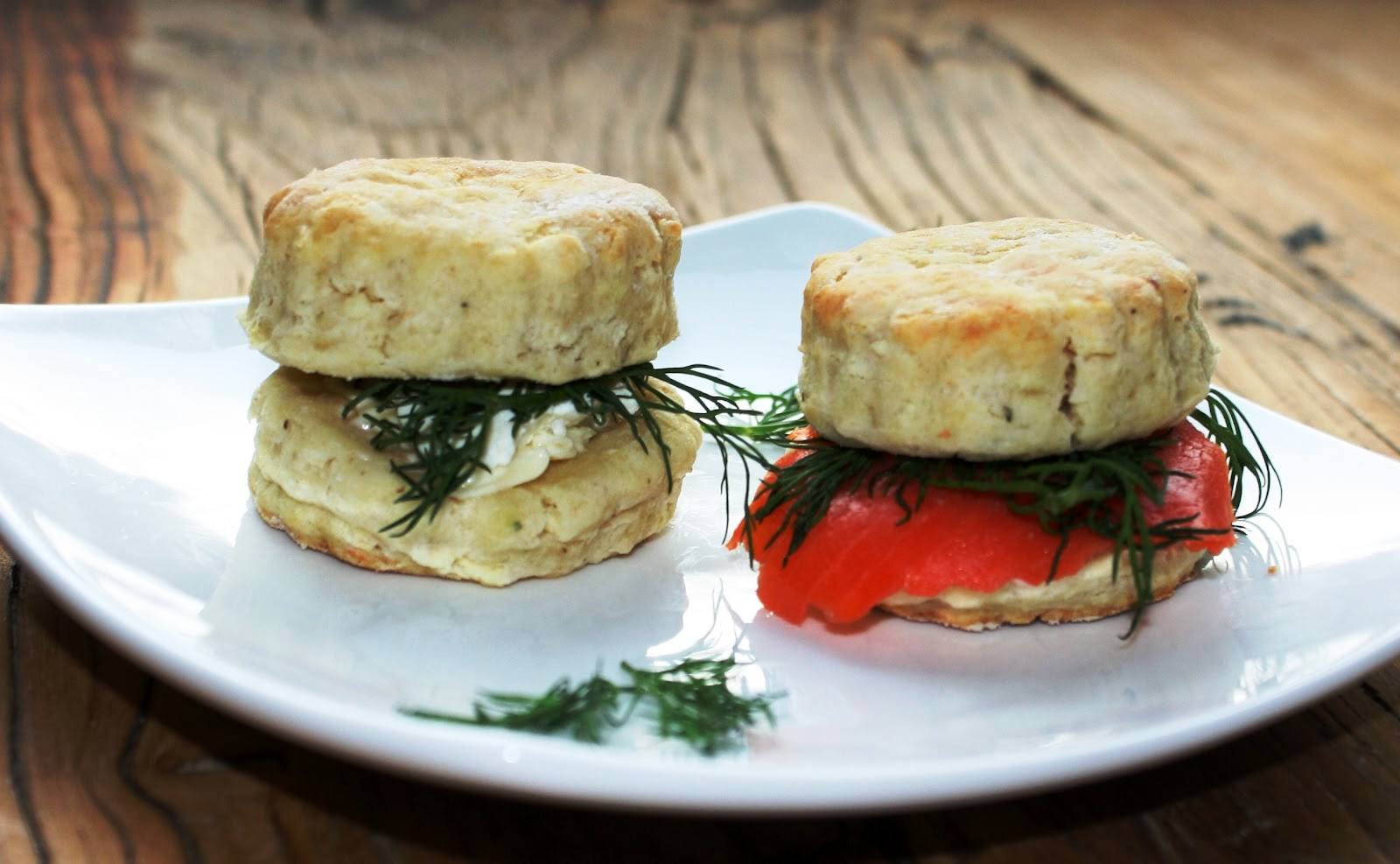 ... : Goat Cheese and Black Pepper Biscuits with Smoked Salmon and Dill