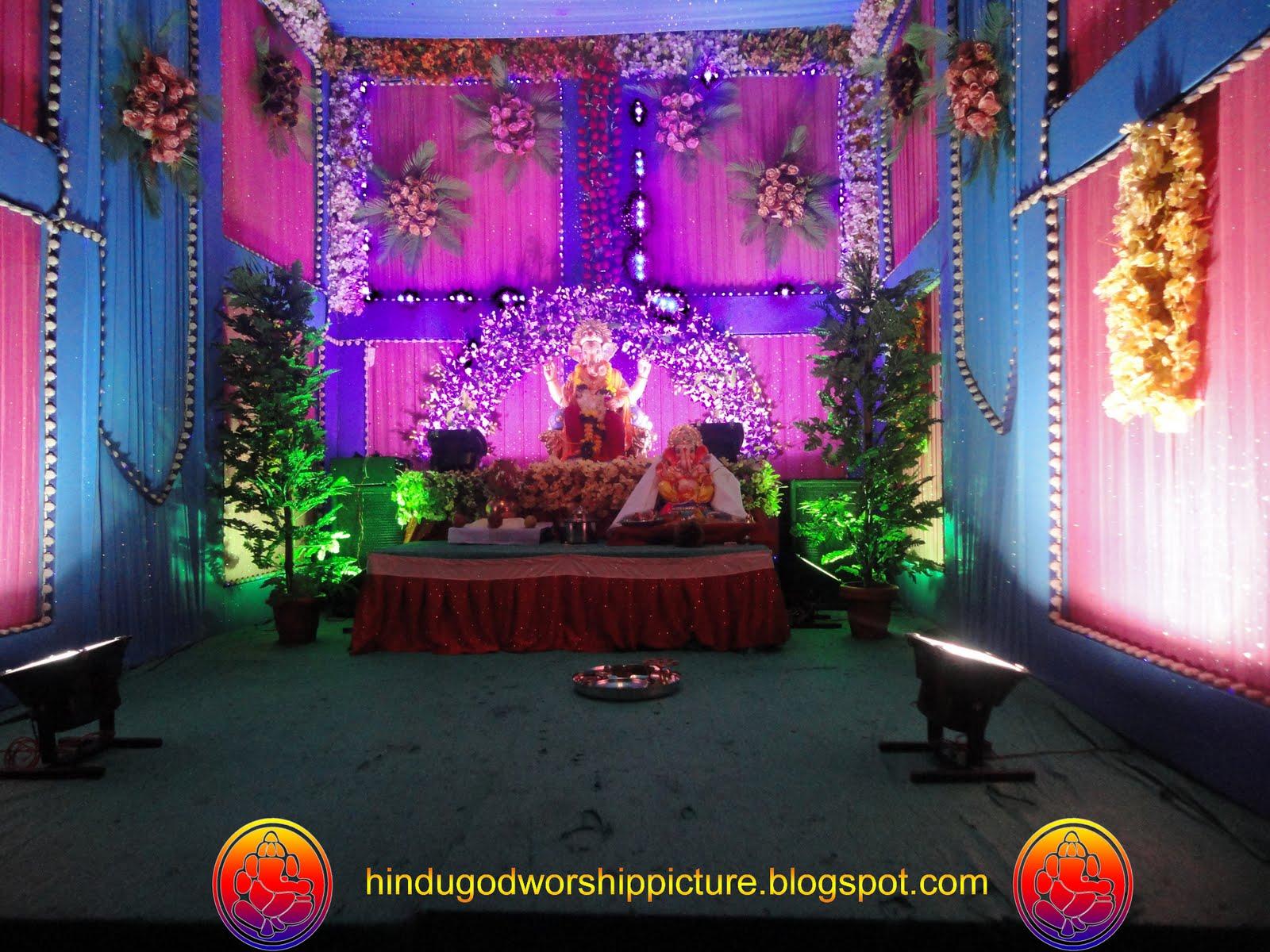Ganesha chaturthi ganesh chaturthi 2011 photos for Background decoration for ganesh festival