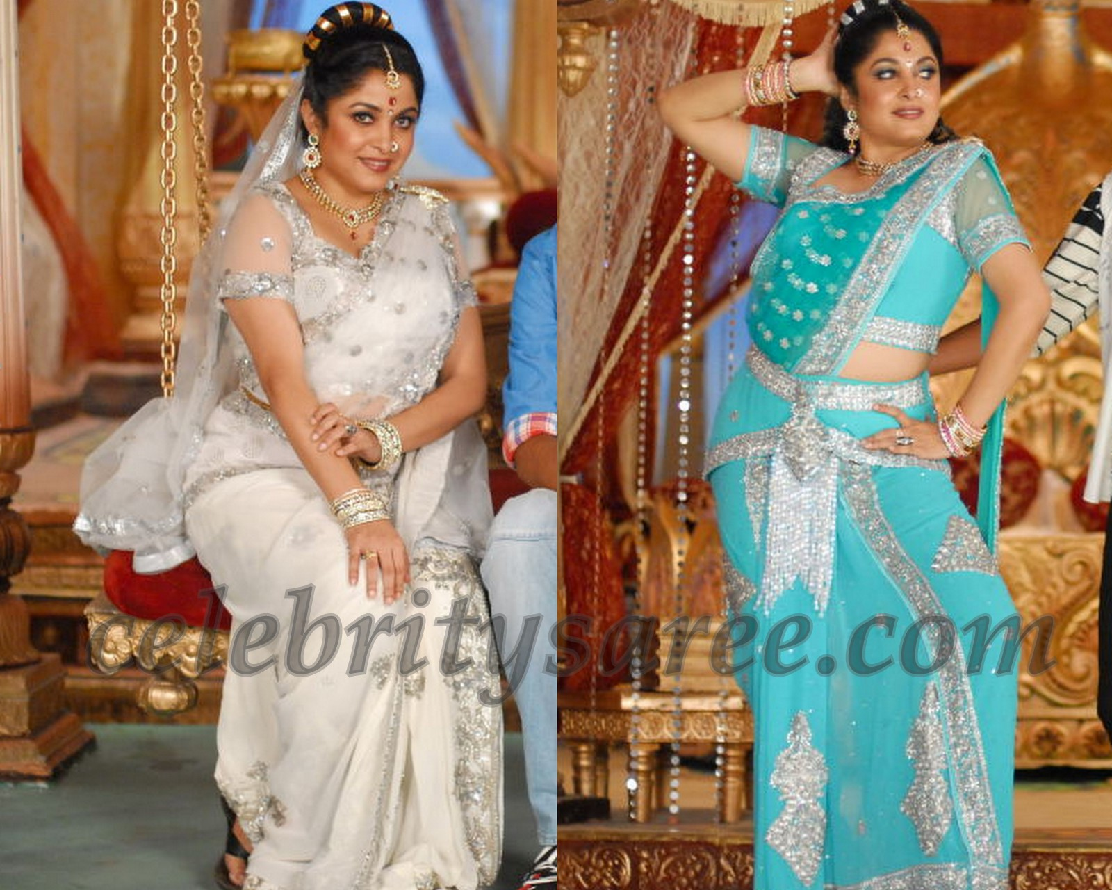 Ramya Krishna In Netted Blue And White Saris
