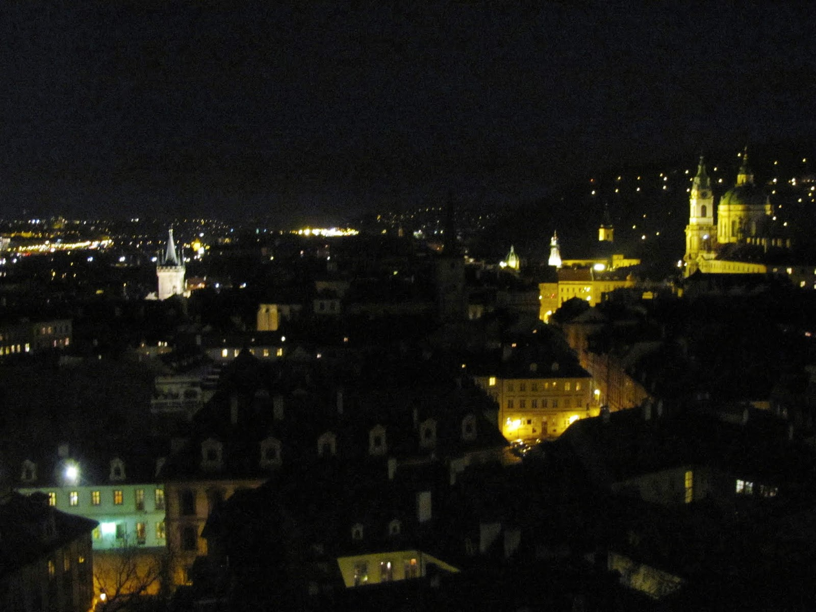 Wide View of Prague at Night