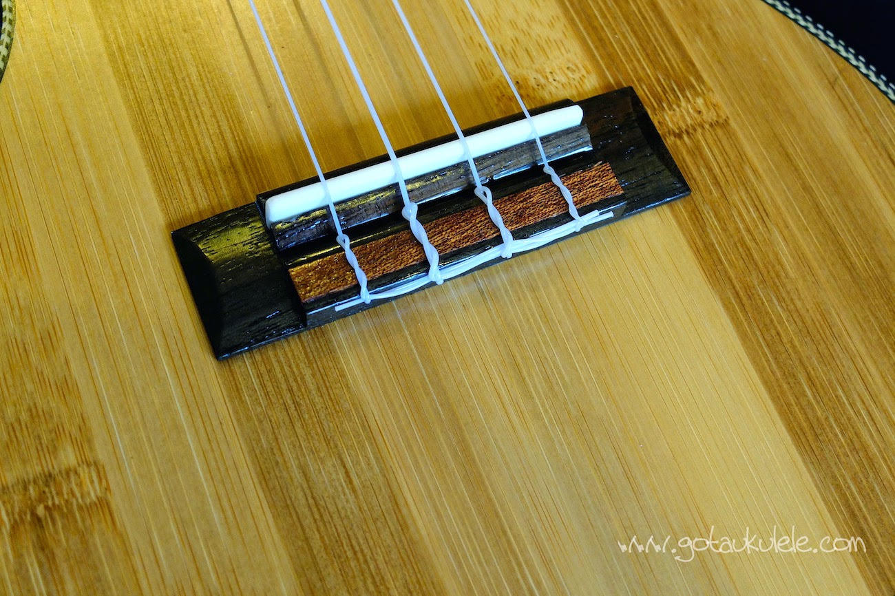 Moselele Solid Electro Bambookulele bridge