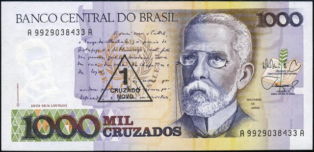 Cédulas Brasileiras: P216a: 1 Cruzado Novo - Maílson F. da Nóbrega / Elmo Camões