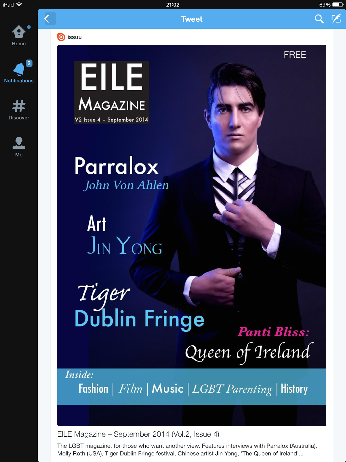 Parralox Interview/Front cover of EILE Magazine