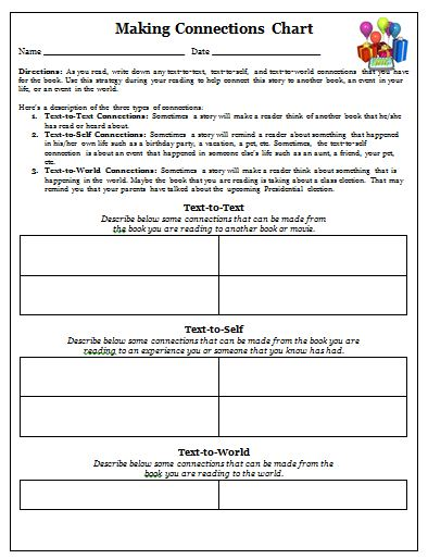 Printables Reading Strategies Worksheets making connections worksheet plustheapp kid friendly worksheets