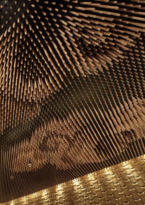 Tsujita noodle stick ceiling