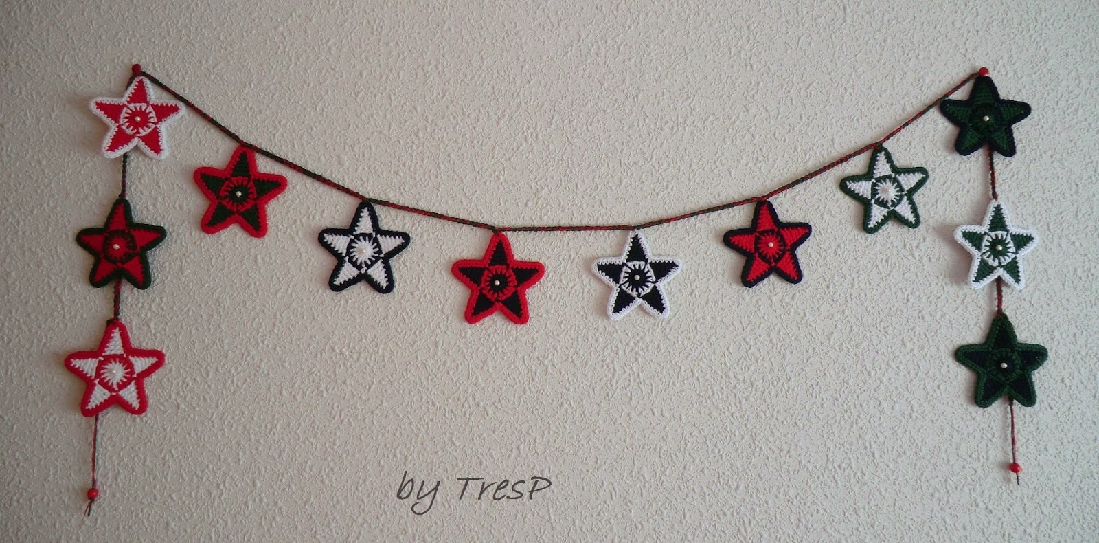TresP craft blog: GUIRNALDA DE ESTRELLAS EN CROCHET/GANCHILLO (TUTORIAL)