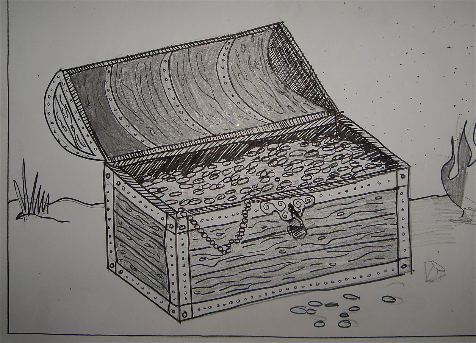 use your coloured pencils treasure chest drawings