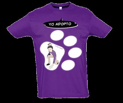 """Camiseta manga corta para hombre """"Adopto gatos"""" color morado"""