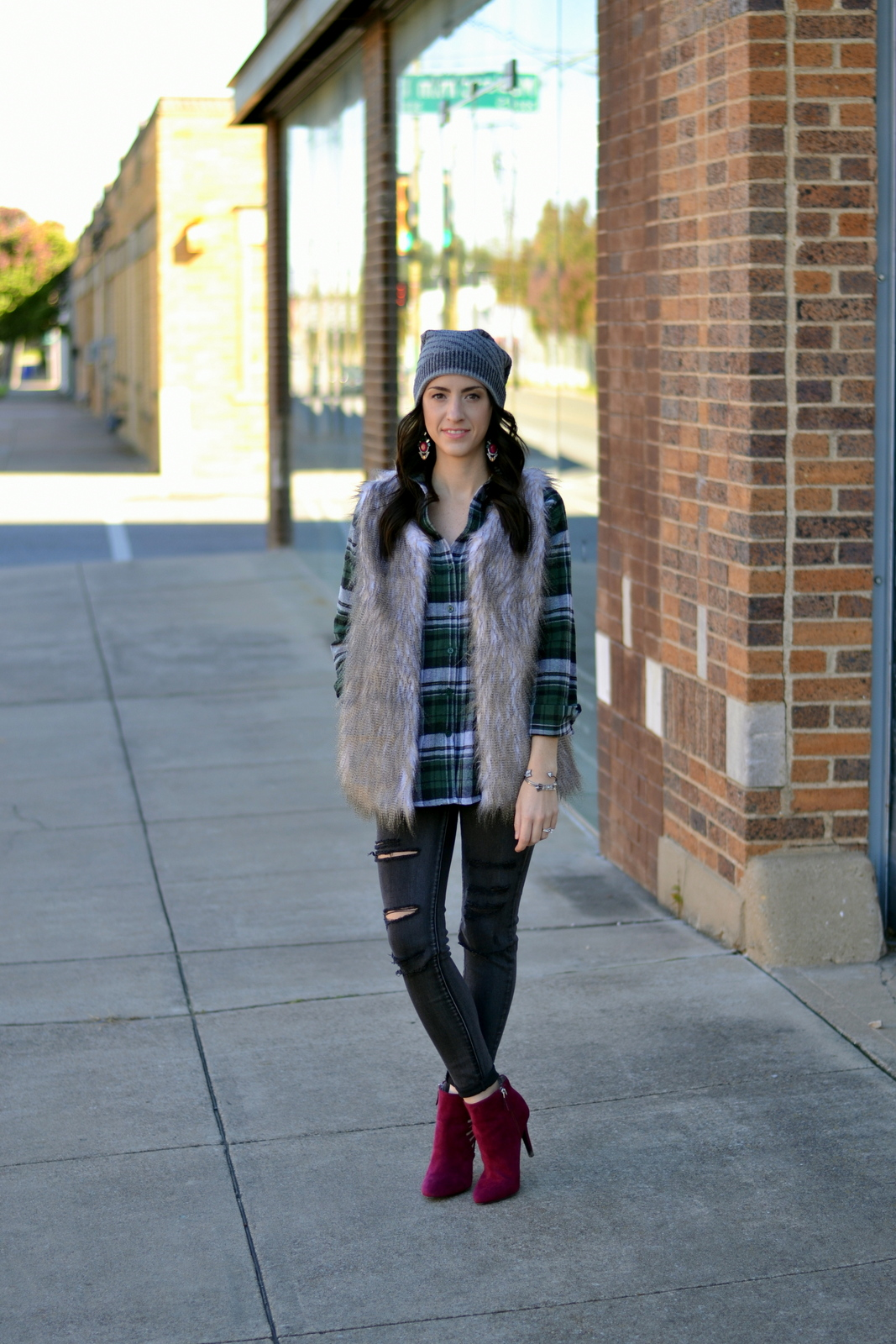 Fur_Flannel_Ripped Denim_Beanie
