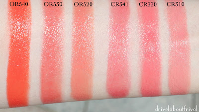 lipstick swatch Shu Uemura OR540, OR530, OR520, CR341, CR330, CR310, OR 540, OR 530, OR 520, CR 341, CR 330, CR 310