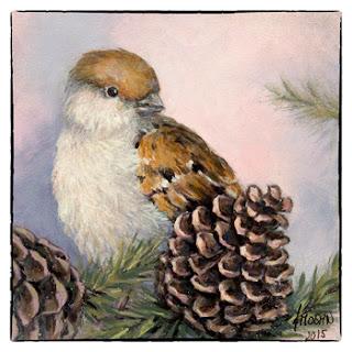 bijzondere kerstkaart schilderij winter mus met dennenappel Atelier for Hope Doetinchem