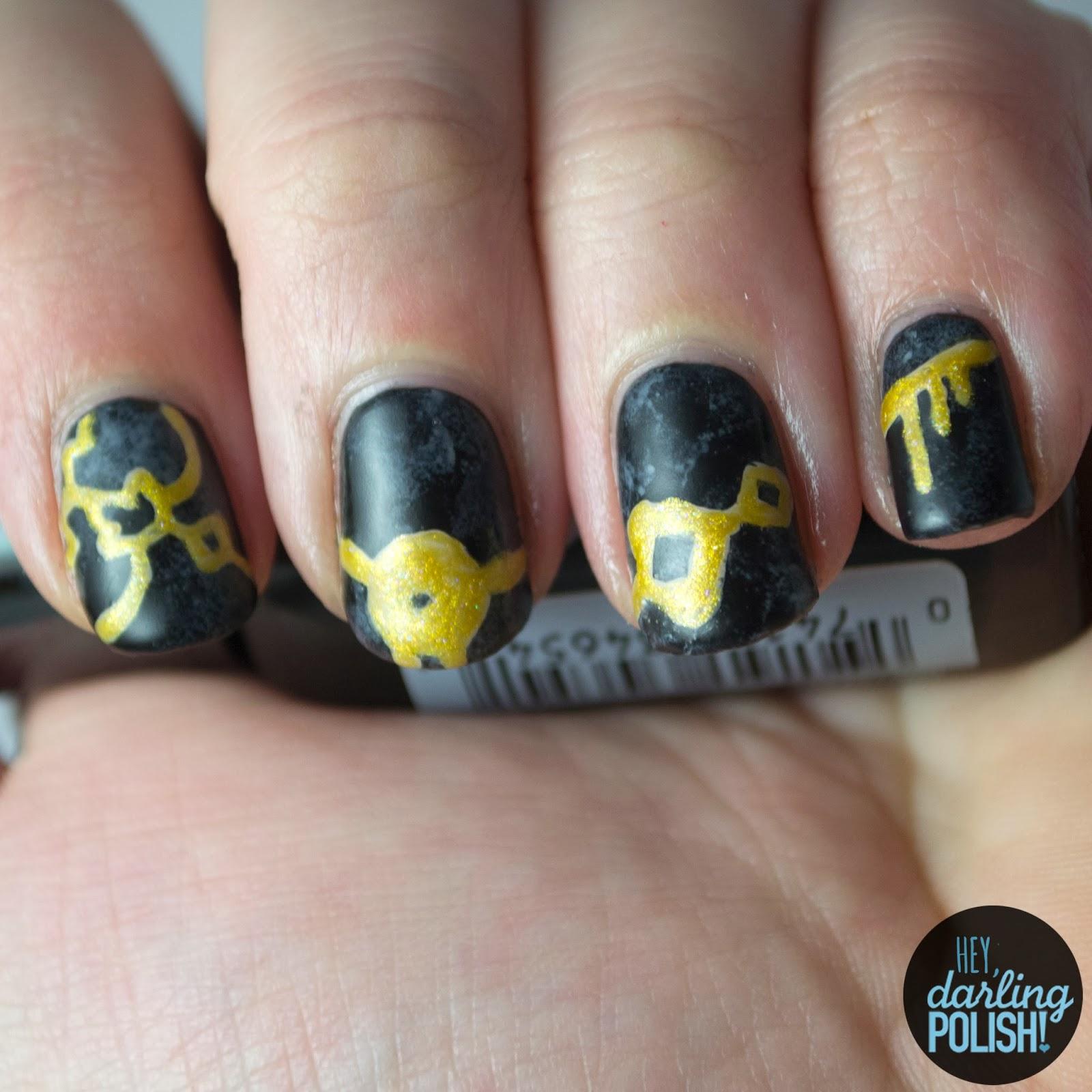 nails, nail art, nail polish, polish, black, gold, music monday, white picket fence, clocks and calendars, hey darling polish