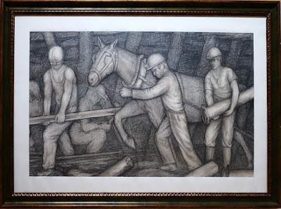 Dibujo de temática minera de Félix Magdalena