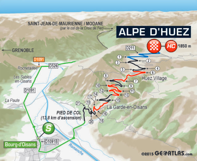 The 21 numbered hairpin bends of Alpe d'Huez