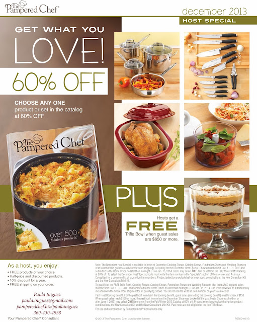Pampered Chef December 2013 Host and Guest Specials