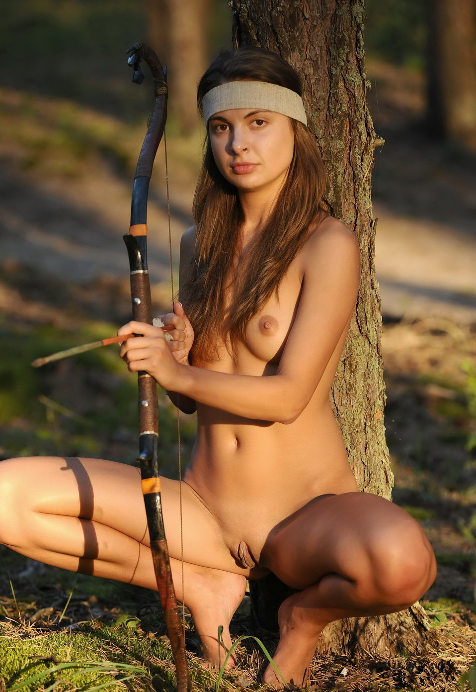 Naked bow hunting girl cartoon image