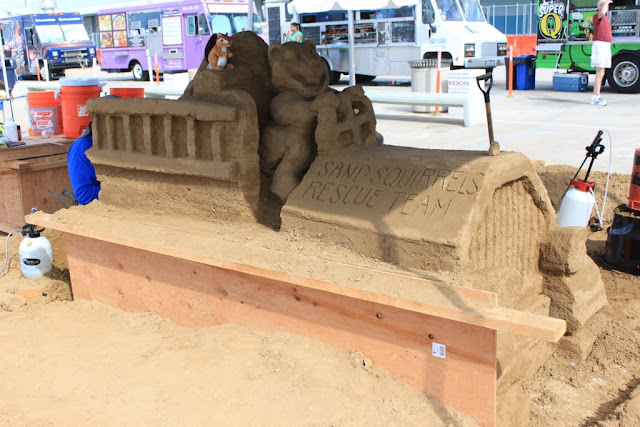 The side view of Sand Squirrels Rescue Team sculpture at the U.S Sand Sculpting Challenge 2012 in San Diego, California, USA