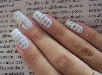 Nail art: Unhas de jornal