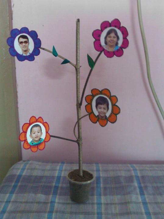 Rajithart best out of waste family tree for Paper best out of waste