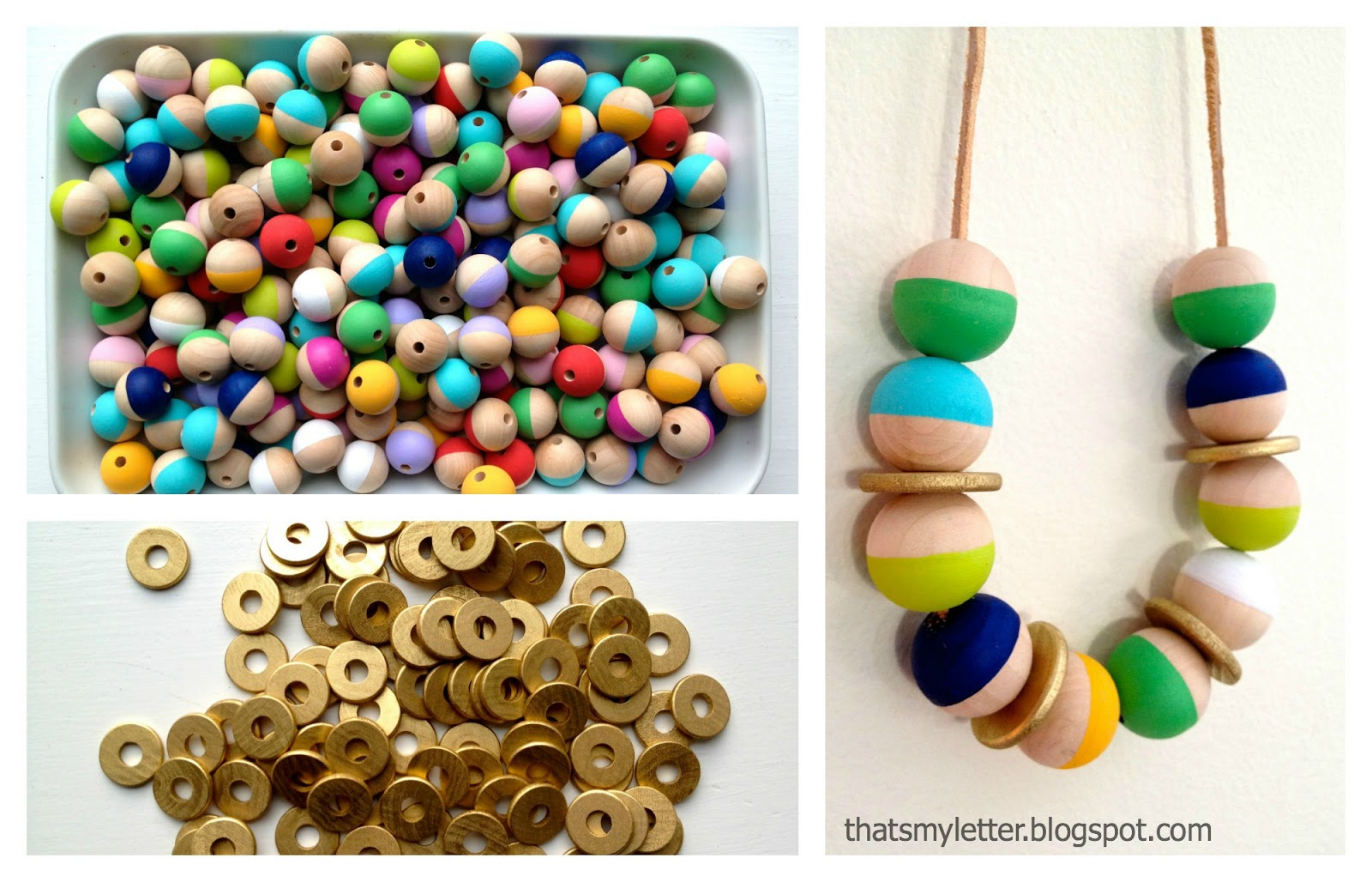 that s my letter diy wood bead necklace