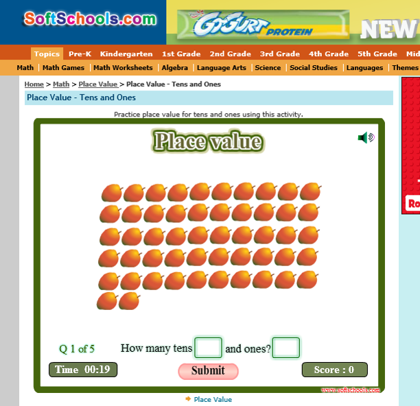 http://www.softschools.com/math/place_value/games/tens_and_ones/