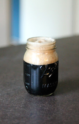 Mason Jar of Coffee Oatmeal Stout.