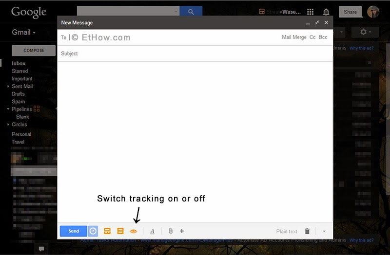 Enable or disable streak Gmail tracking from compose pop-up.