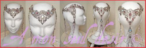 Diadème Opale Couronne Mariage elfique Arwen wedding Elven crown Galadriel White Opal