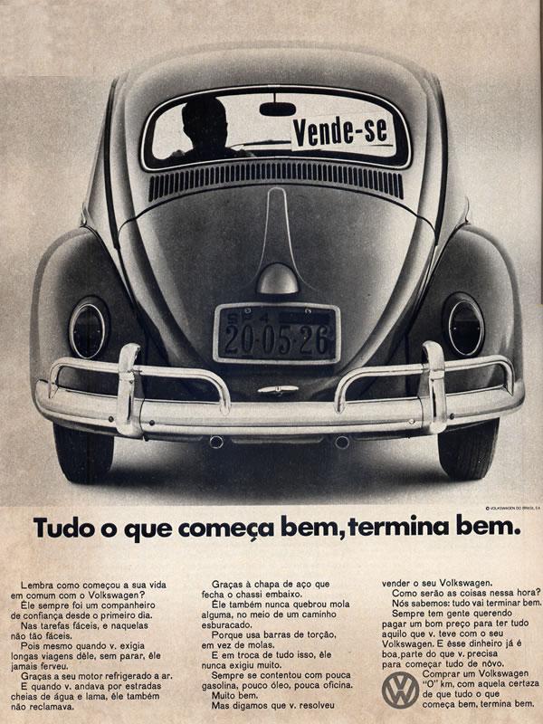 Propaganda do Fusca em 1968 onde apresentavam as vantagens de revenda.
