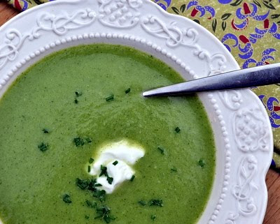 Quick Broccoli Soup with Chive Oil