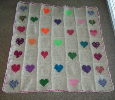 Free Knitting Pattern For Baby Blanket With Hearts : Free Crochet Patterns By Cats-Rockin-Crochet