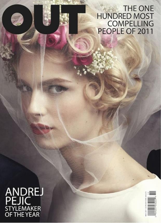 Andrej Pejic se veste de noiva na capa da OUT (Foto: Divulação)