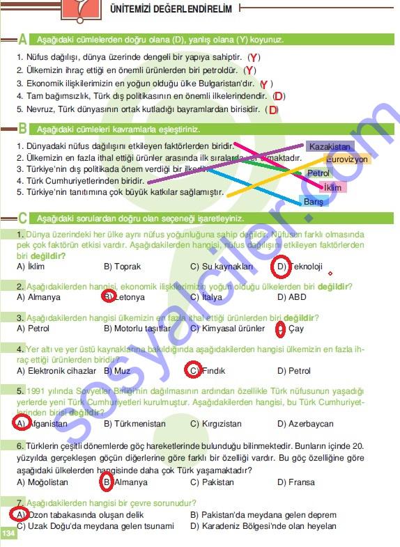 Sosyal bilgiler ders kitabı cevapları 6 sınıf sosyal bilgiler