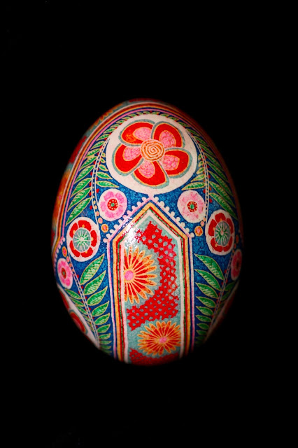Goose Egg Pysanky Eggshell in red, pink, blue, yellow and green